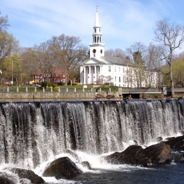 Places To Visit North East Coast England: Church And Waterfall -- Milford, CT