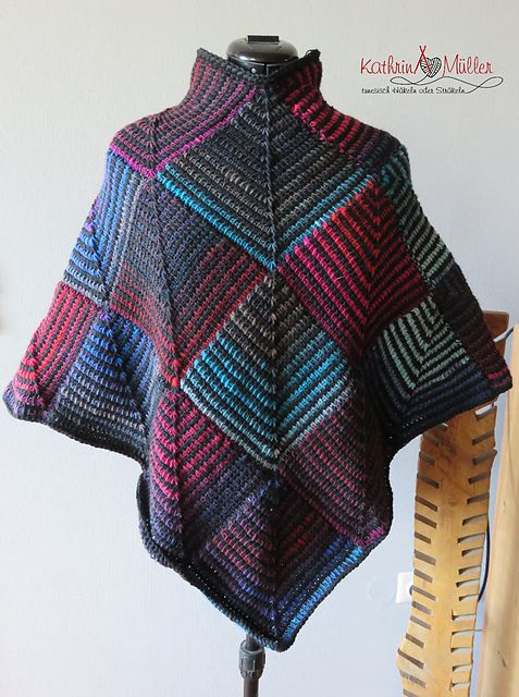 Bunter Poncho aus Patches pattern by Kathrin Müller | Pinterest ...