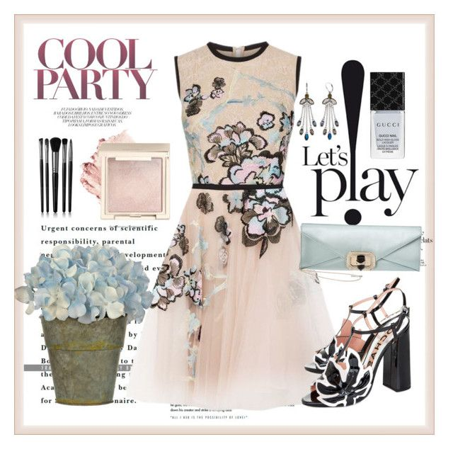"""""""Bold Pastel Party Dress"""" by boutiquebrowser ❤ liked on Polyvore featuring Elie Saab, Rochas, Gucci, Illamasqua, Simply Vera and Marchesa"""