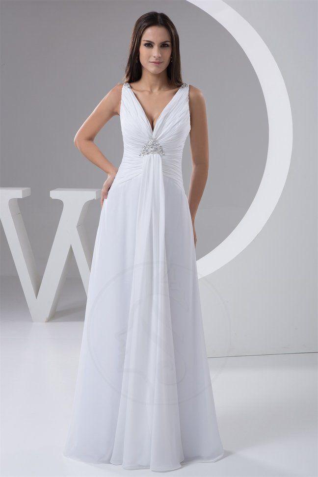 A-Line Perlenbesetztes Reißverschluss bodenlanges Brautkleid mit ...