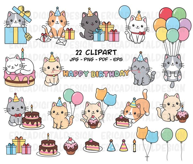 Birthday Cats Clipart Cute Cat Party Clip Art Kawaii Kitten Etsy Cat Clipart Cat Birthday Clip Art