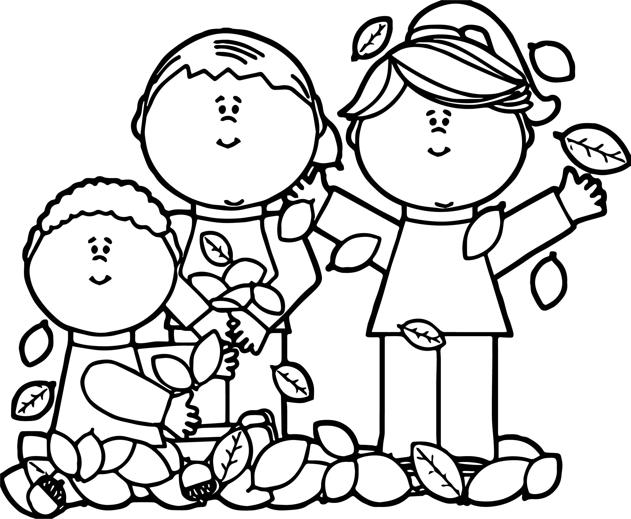 Kids Playing In Leaves Autumn Coloring Page Leaf Coloring Page