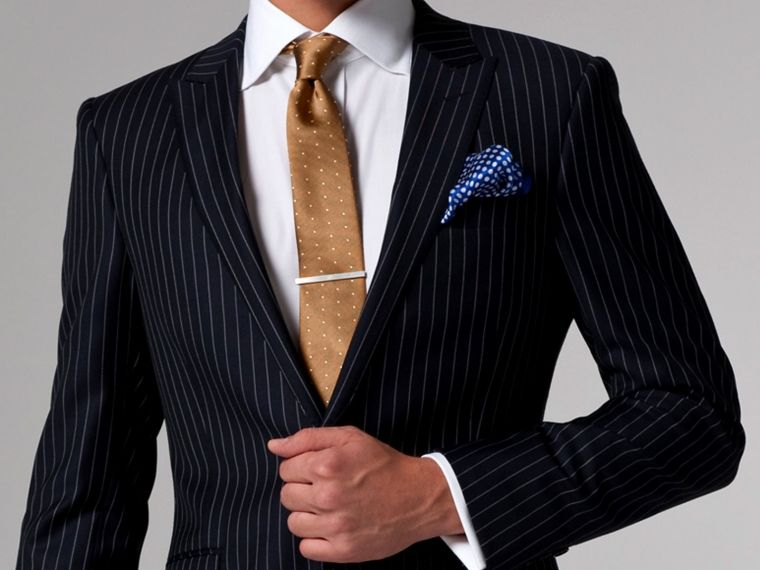 Vincero Navy Blue & White Pinstripe Suit | Indochino. Would ...