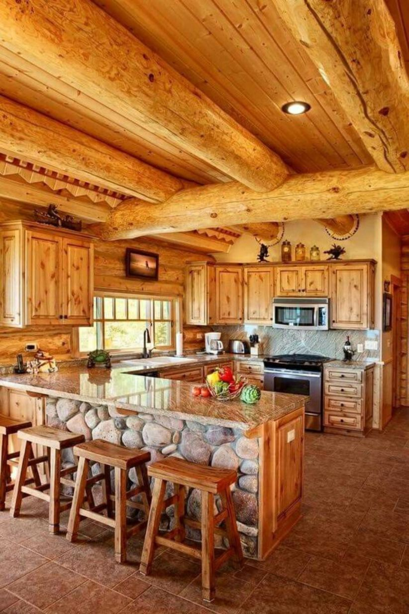 44 Stunning Cabin Kitchen Decoration Ideas Log Home Kitchens