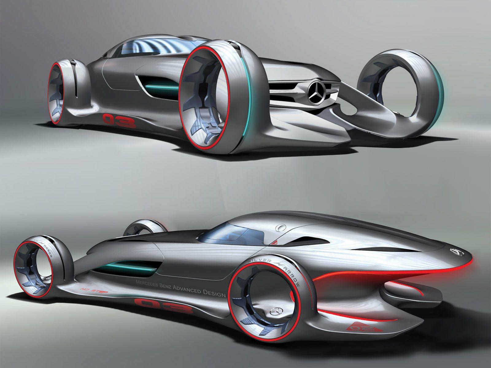 silver arrow mercedes benz concept car in silver lightning futuristic
