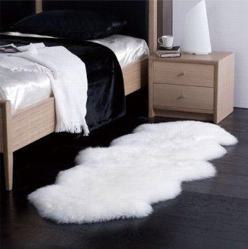 amazon com sheepskin rug double pelt natural white fur 2x6 home