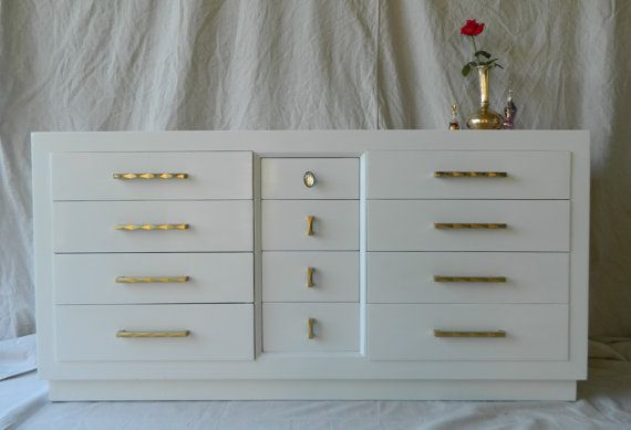 Modern Refinished Glossy White Lacquer 12 Drawer Dresser With Original Refreshed Gold Handles And Pulls Except Center Top Draw White Dresser Dresser Furniture