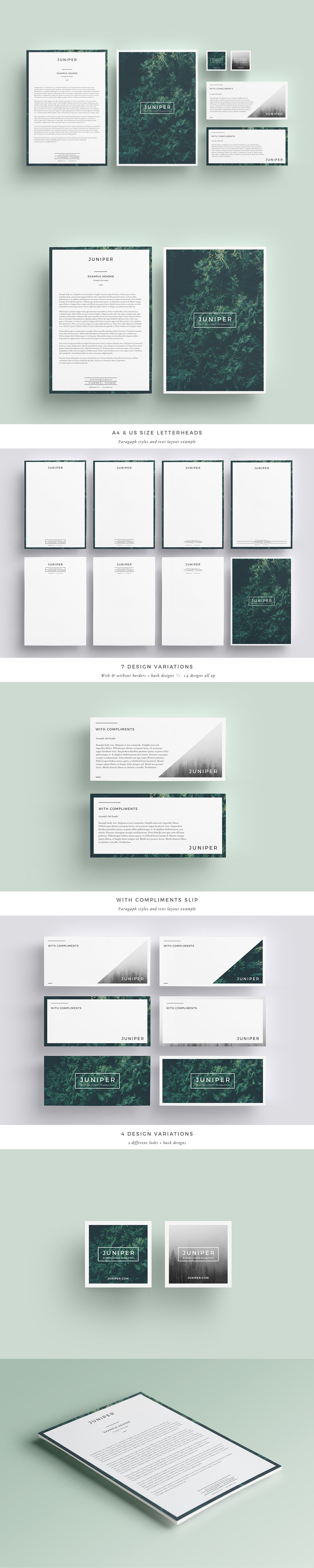 J U N I P E R Letterhead With Comps By Fortysixandtwo On Envato Elements Business Cards Creative Templates Letterhead Letterhead Design