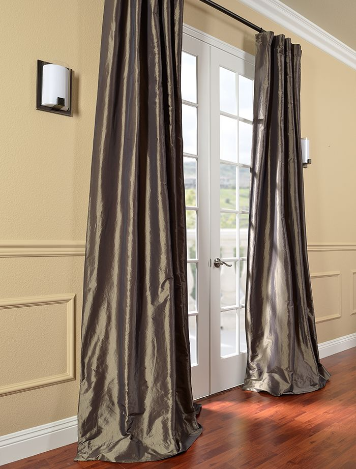 Mushroom Faux Silk Taffeta Curtain For Dining Room