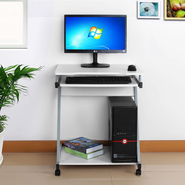 Songmics escritorio de la computadora blanco mesa de for Mesa para computadora