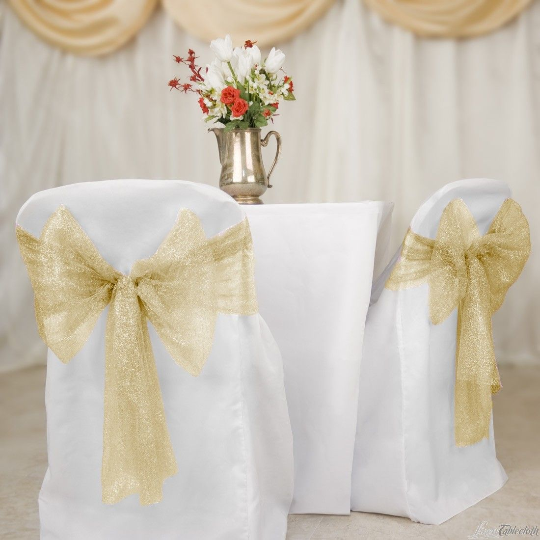 Gold Metallic Web Mesh Chair Sashes For Your Wedding Covers At Linentablecloth Use