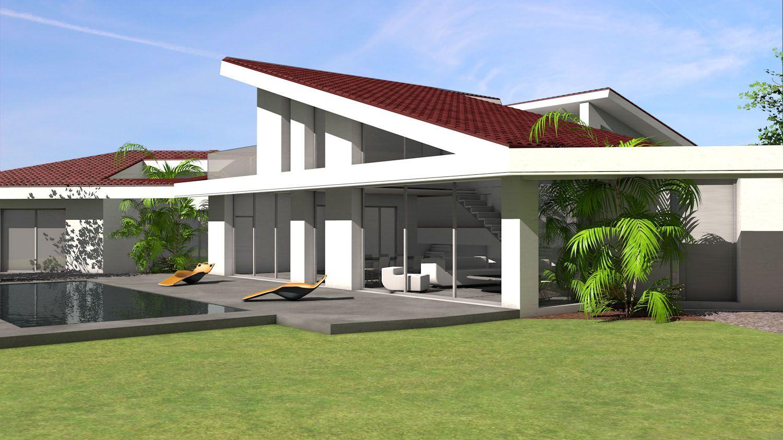 Plan Maison Architecte Maison Contemporaine A Casquette Beton Et Toiture Monopente En Tuiles Ro Plan Maison Architecte Maison Architecte Maison Contemporaine
