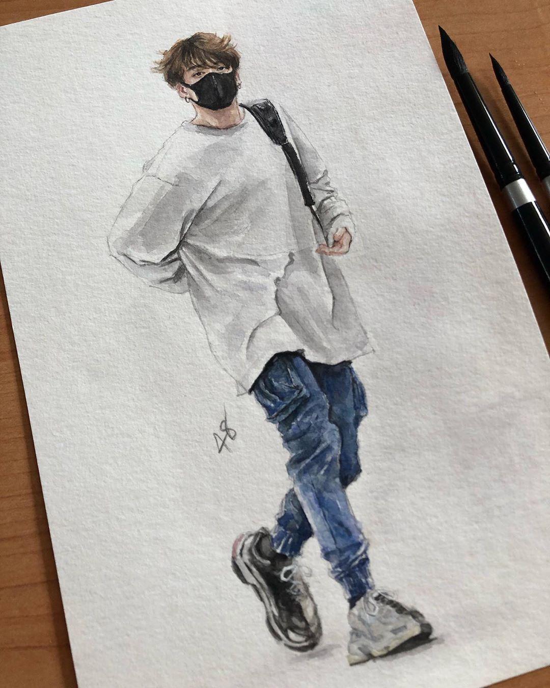 "Photo of 48 x 4∞ on Instagram: ""??♂️. . #jungkook #btsfanart """