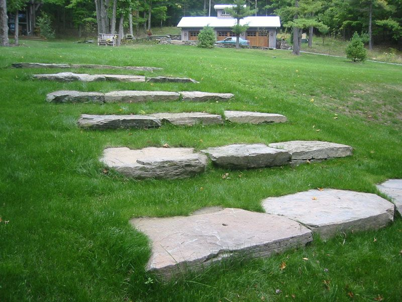 Image Result For Bluestone And Natural Stone Risers Stairs Stone Step Stepping Stones Pool Landscaping