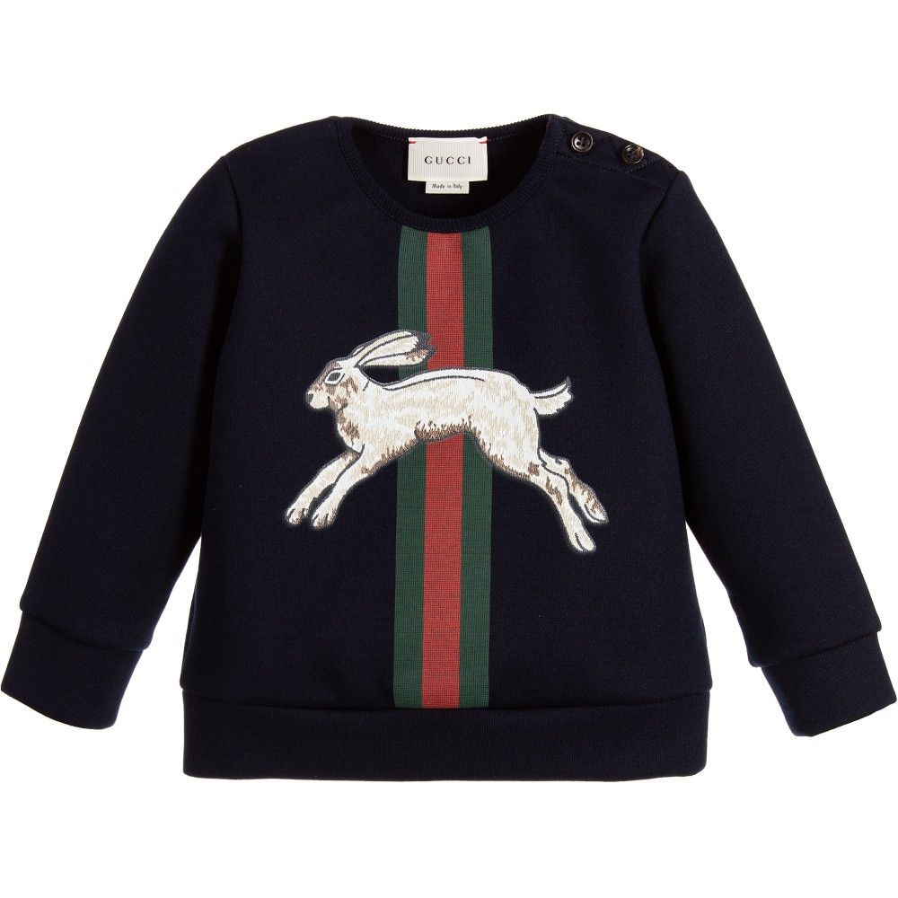 326952dd7de8 Gucci Baby Boys Navy Blue Hare Sweatshirt at Childrensalon.com ...
