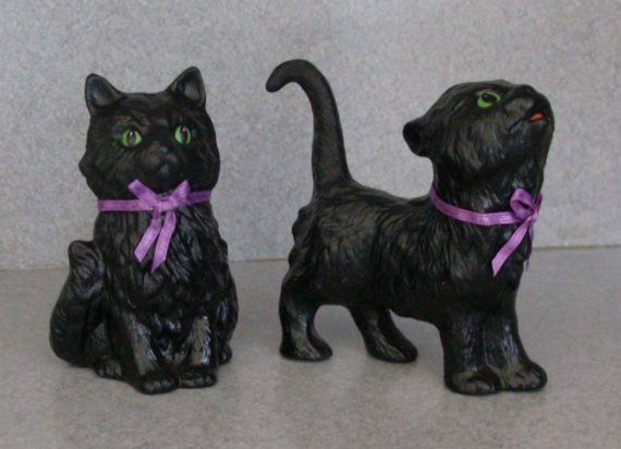 Two Black Cat statues Halloween decoration by SueSueSueCrafts - halloween decorations black cat
