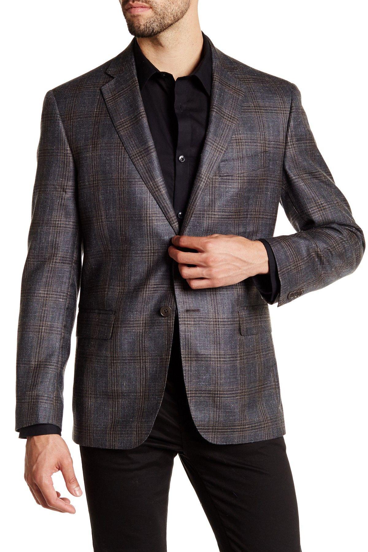 Grey Glenplaid Two Button Notch Lapel Wool Sportcoat