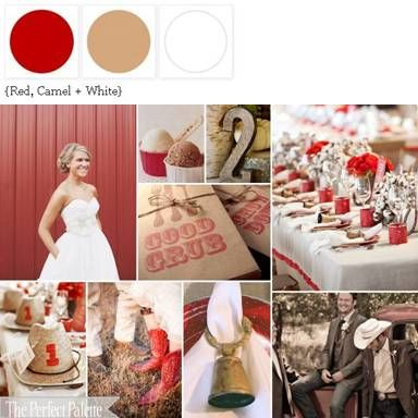 {Cowboys + Cotton}: A Palette of Red, Camel + White! A Sophisticated Hoedown :)  ☛ http://su.pr/1cbEyV