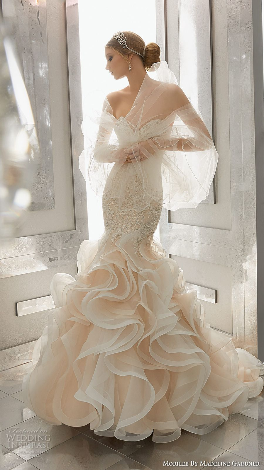 Wedding dresses with ruffles on skirt  morilee fall  bridal strapless sweetheart neckline heavily