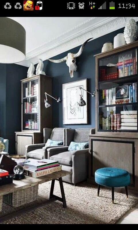 Männerzimmer Raumgestaltung, Wandfarbe, Raucherraum, Einrichten Und Wohnen, Wohnzimmer  Ideen, Wohnzimmer Grau