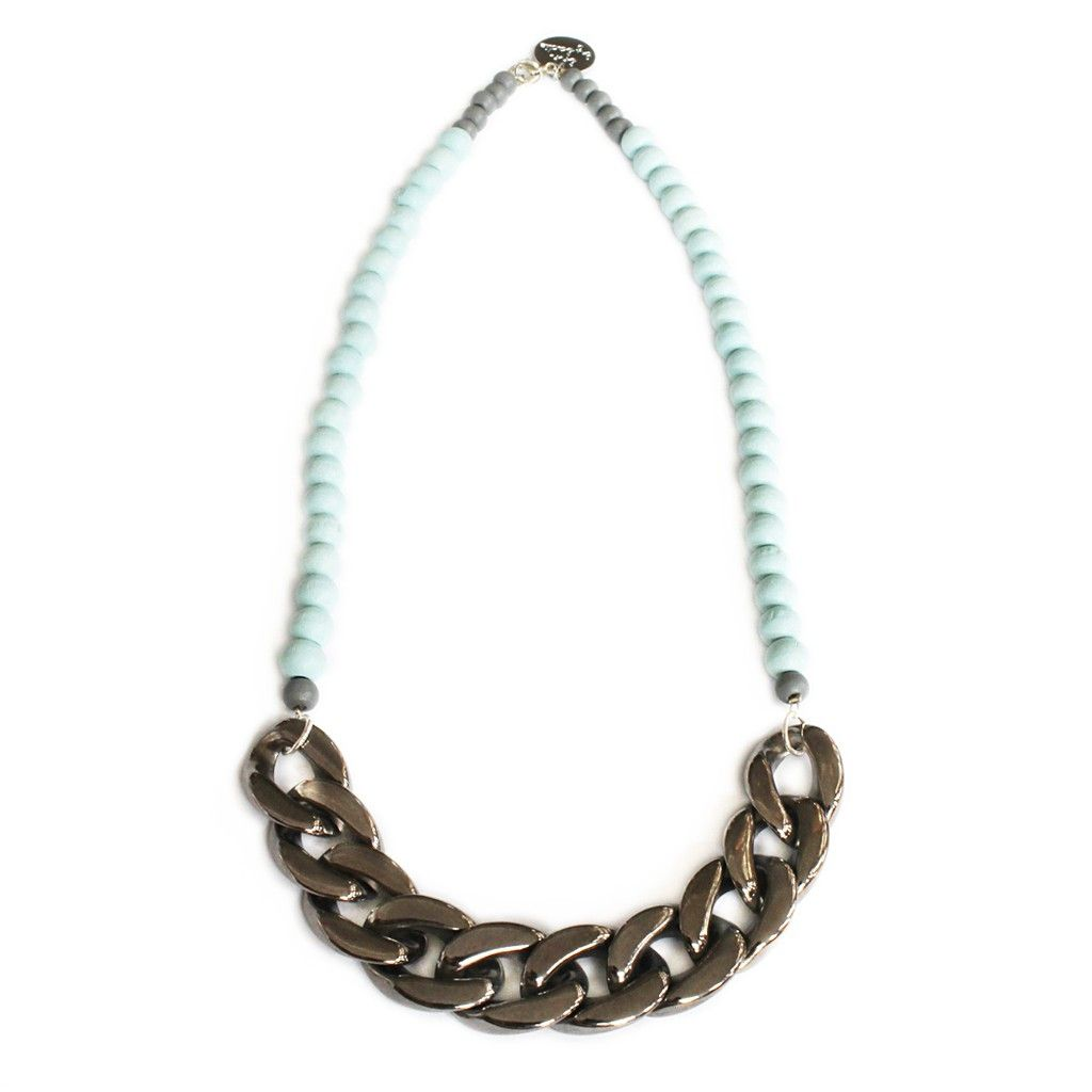 Ocean Necklace- Handmade pastel blue wooden beads and chain necklace    Pastel blue wooden beads with gunmetal silver acrylic chunky chain. Finished with a signature shh by Sadie tag. Perfect for wearing alone or layering with other delicious neck candy! Ships from New Zealand. Handmade item. Allow 2-3 weeks for delivery. | Shop this product here: spreesy.com/abbeyrow/92 | Shop all of our products at http://spreesy.com/abbeyrow    | Pinterest selling powered by Spreesy.com