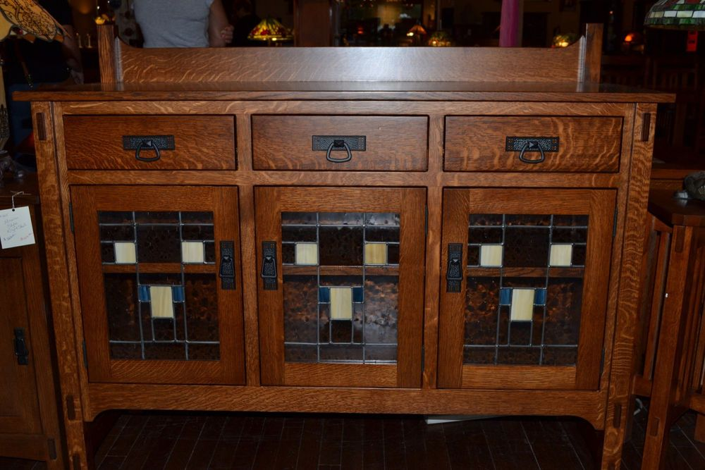 buffet with glass doors. Mission Oak Sideboard / Buffet With Leaded Glass Doors #ArtsCraftsMissionStyle