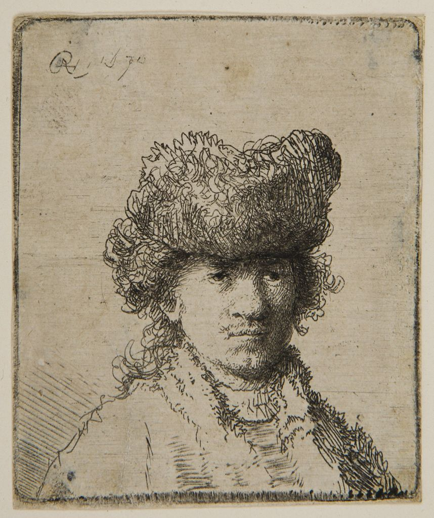 Rembrandt Harmensz van Rijn - Rembrandt with a Fur Cap and Light Dress, 1630, Etching plate: 6.3 x 5.4 cm | Harvard Art Museums http://www.pinterest.com/volfi/rembrandt-van-rijn/