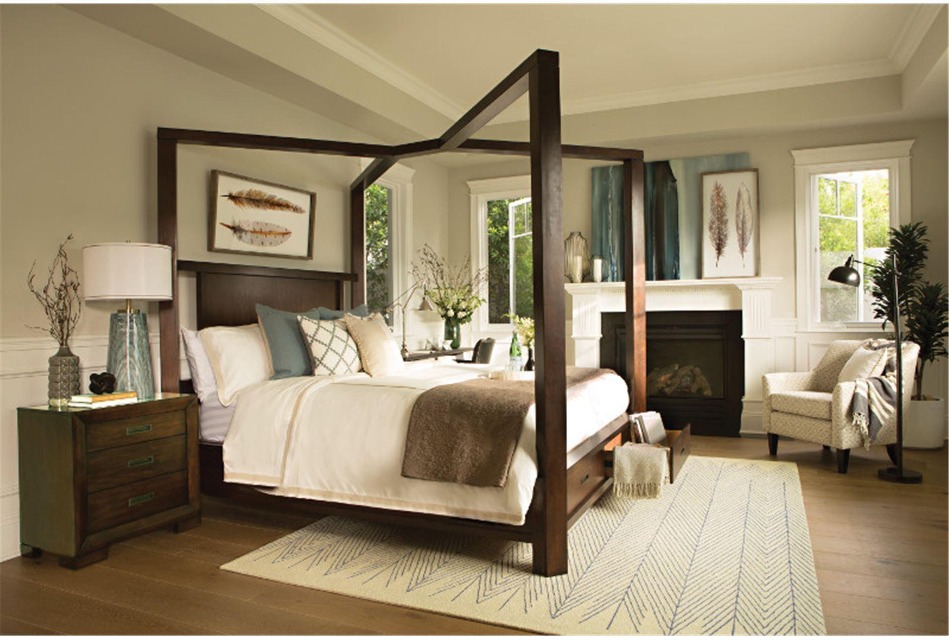 California King Canopy W/Storage Bed, Tesla, Medium brown | Storage ...