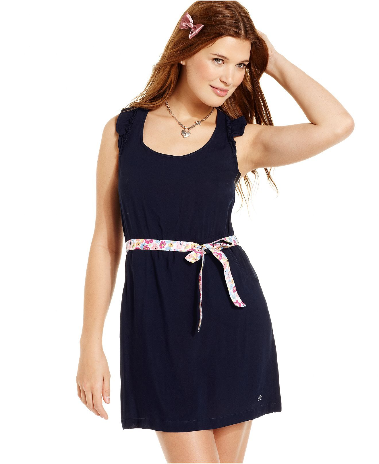 Tommy Girl Dress Sleeveless Ruffled Belted Juniors Dresses Macy S Junior Dresses Review Dresses Dresses [ 1616 x 1320 Pixel ]