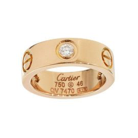 f3c6c6e4283d8 Cartier 18K Rose Gold 3 Diamonds Love Ring Size 4   Bling it up in ...