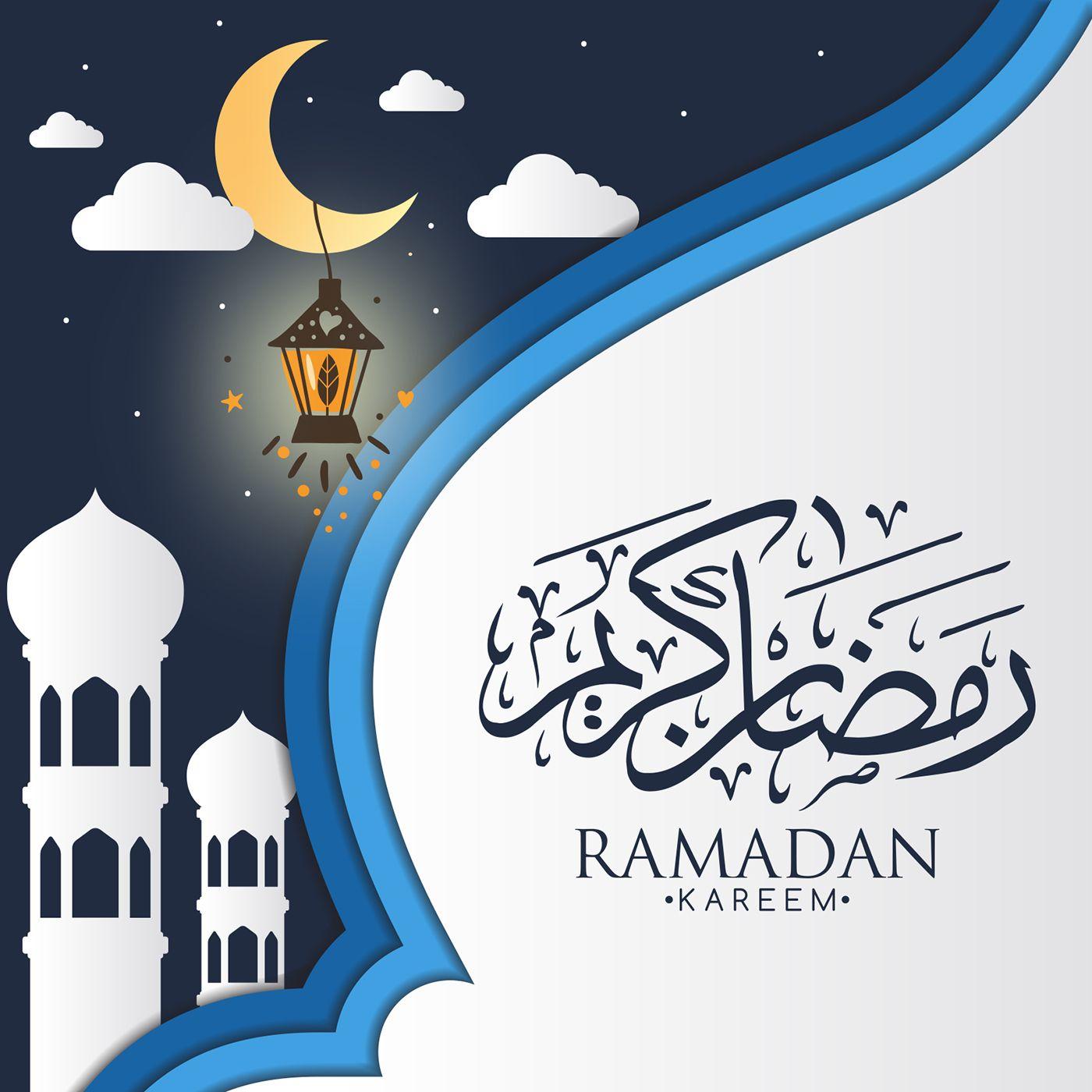 Ramadan Karem رمضان كريم On Behance Spanduk Kartu Desain Vektor