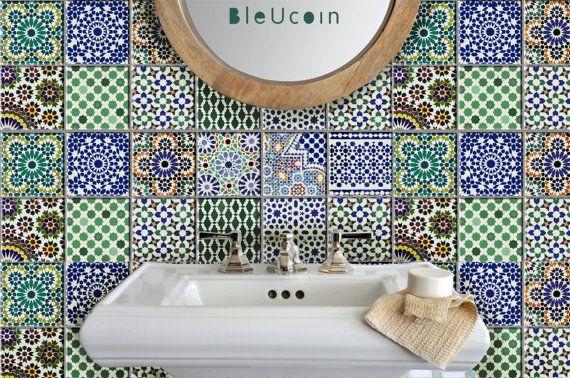 Tile Wall Decal Kitchen Bathroom Moroccan Tile Decal 44pcs Tile Decals Morrocan Tile Moroccan Tile