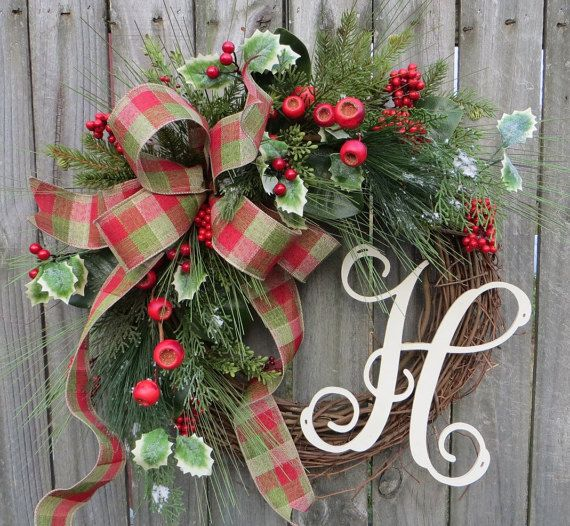 Christmas Wreath Holiday Decor Rustic Elegance Berries And Pinewreath With Letter Initial Monogram Wreath Christmas Decor