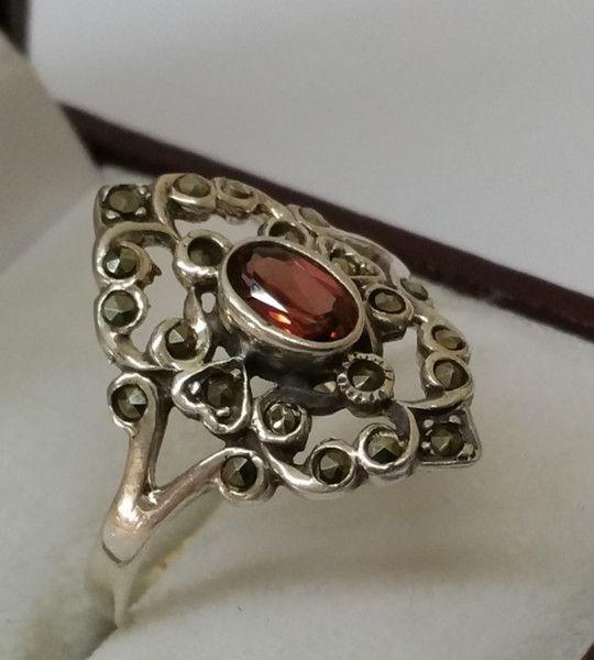 Vintage Ringe - Nostalgischer 925er Silberring mit Turmalin SR611 - ein…
