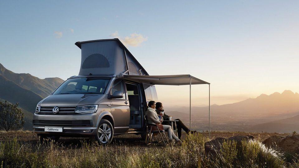 Couple Camping With The Vw California Roof Bellow Volkswagen Pop Top Camper Vans California