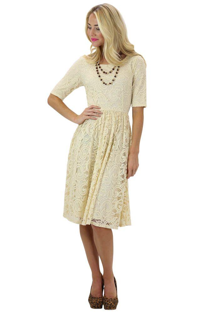 513f66539f59c Samantha Lace Dress in Light Beige | Thanksgiving Hostess | Beige ...