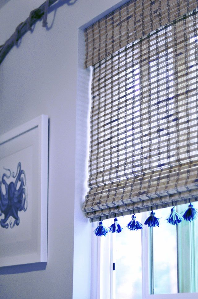 Beautiful Blue Mixed Into These Natural Woven Shades For A