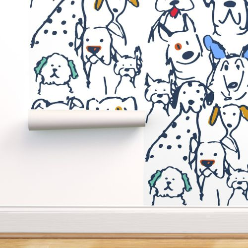 Colorful Fabrics Digitally Printed By Spoonflower Color Pop Doodle Dogs Doodle Dog Dog Wallpaper Wallpaper