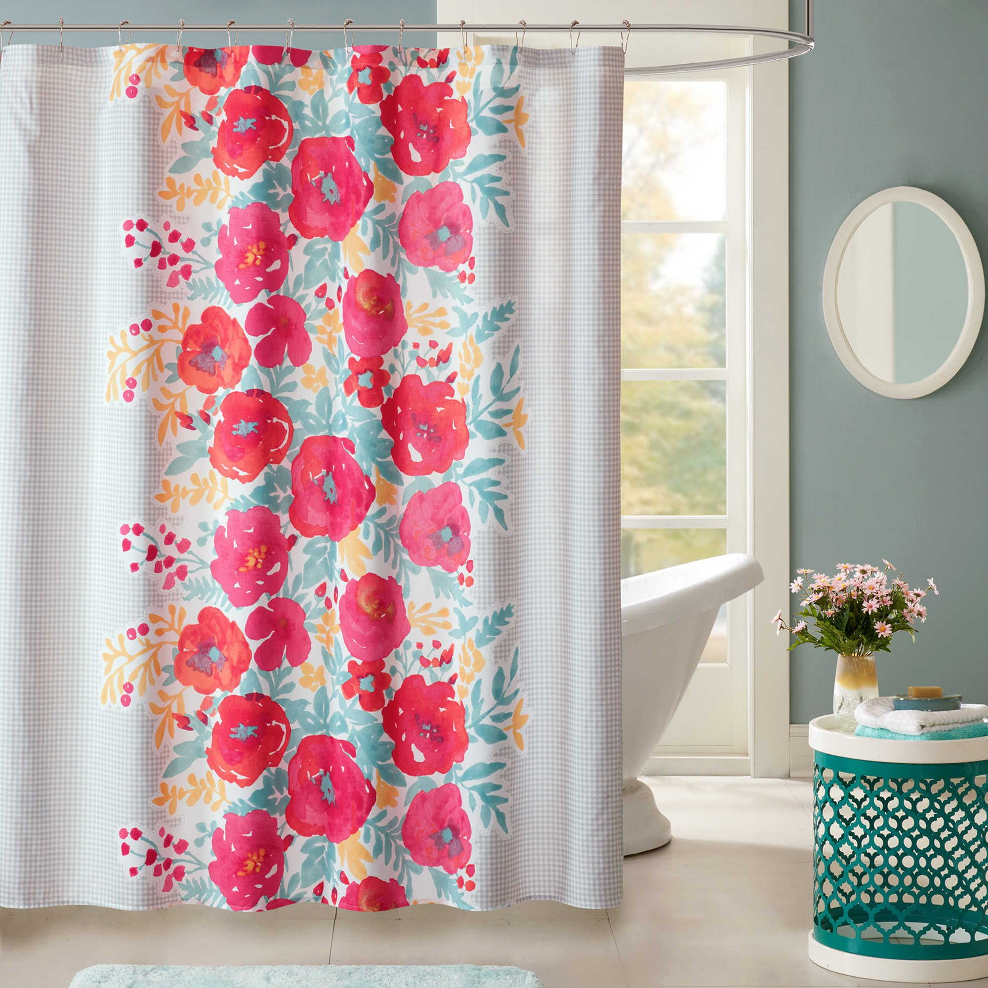 Intelligent Design Elodie Shower Curtain In Coral