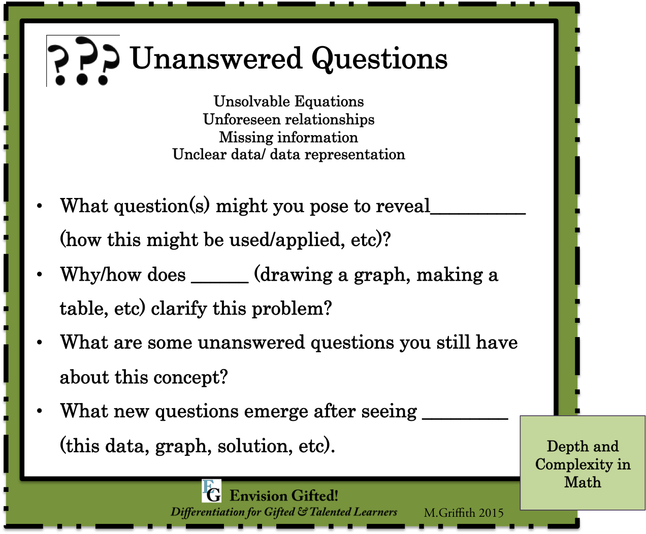 small resolution of Envision Gifted. Depth and Complexity in Math Unanswered Questions   Math