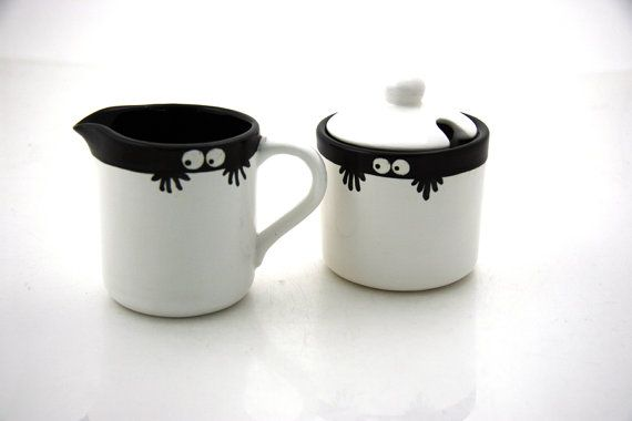 Monster Cream and Sugar bowl set, etsy, $24.00.  Too cute!!