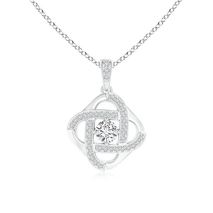 Angara Princess-Cut Diamond Celtic Knot Pendant MZOEo