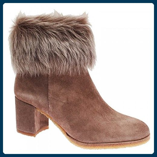 Pedro Miralles Women's High Heel Fur Top Ankle Boot 5 Taupe