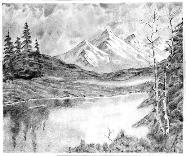 Image Darkened Landscape Pencil Drawings Mountain Drawing Landscape Sketch