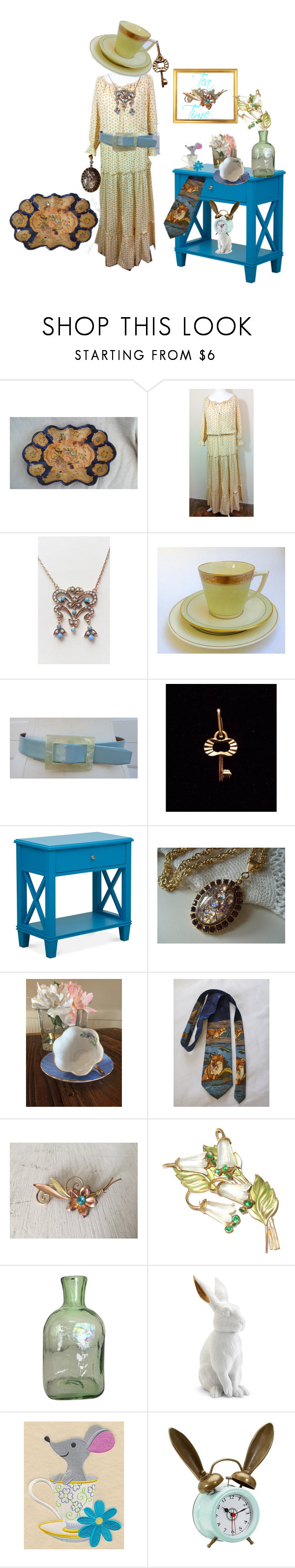"""Tea Time"" by starshinevintage ❤ liked on Polyvore featuring Laura Ashley, L'Objet, PBteen and vintage"