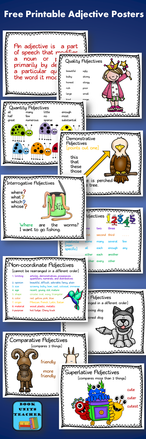 Parts of Speech ~ Adjectives | Free printable, Free and English