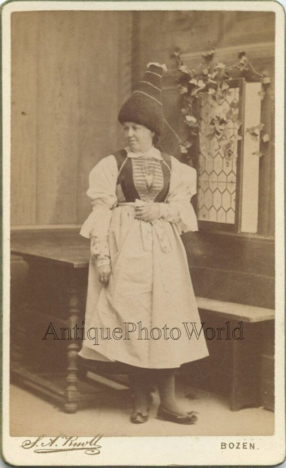 Bolzano Tyrol Italy woman in amazing felt hat antique by ArtNotch