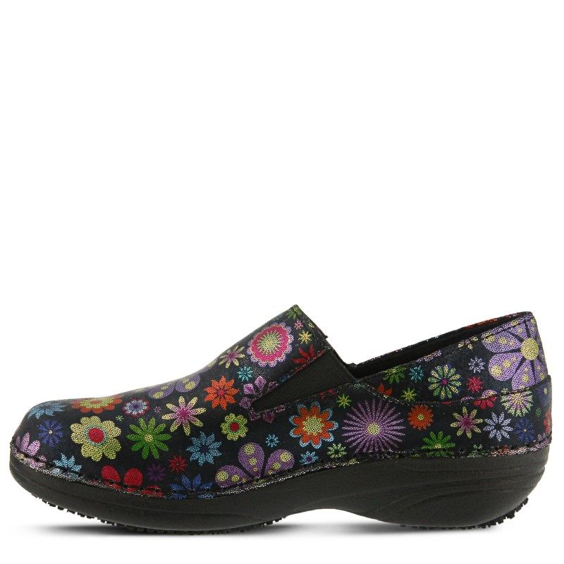 Spring Step Women's Manila Slip Resistant Clog Shoes (Black Multi Leather)