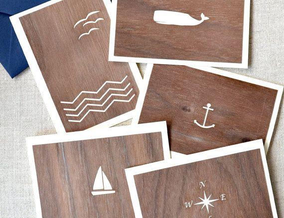 Walnut Blank Anchor Card by FigsAndGinger on Etsy, $6.00
