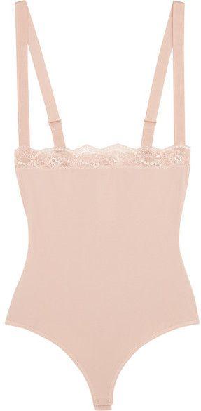 d341867dfe0b0 Wolford - Lace-trimmed Stretch-cotton Bodysuit - Blush